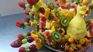 как сделать павлин из фруктов