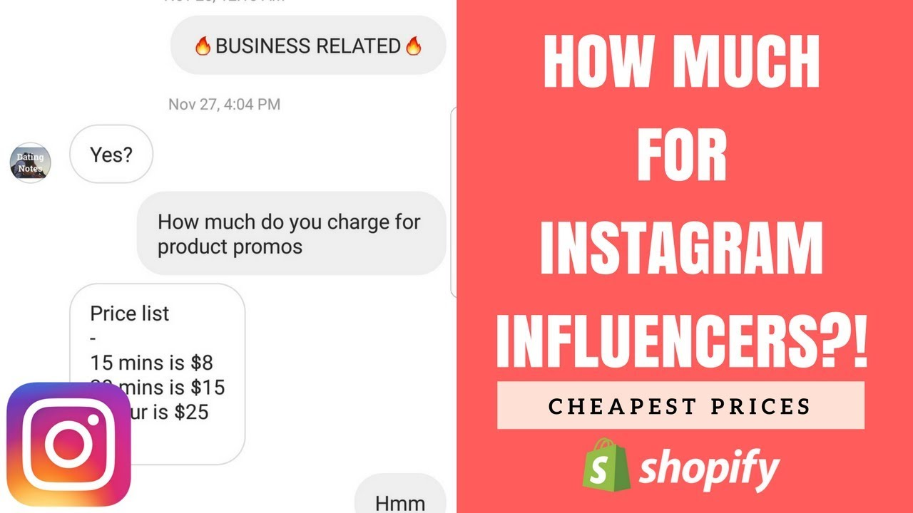 How Much Should You Pay Instagram Influencers - 2018   Shopify Dropshipping