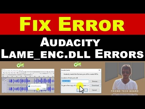 How To Fix Error Audacity Could not open MP3 encoding library, Audacity Fix Lame enc dll Not Found E