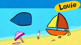 Louie, draw me a whale | Learn to draw cartoon for kids
