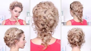 Празднычные причёски на Новый Год, свадьбу, выпускной с плетением на средние/длинные волосы