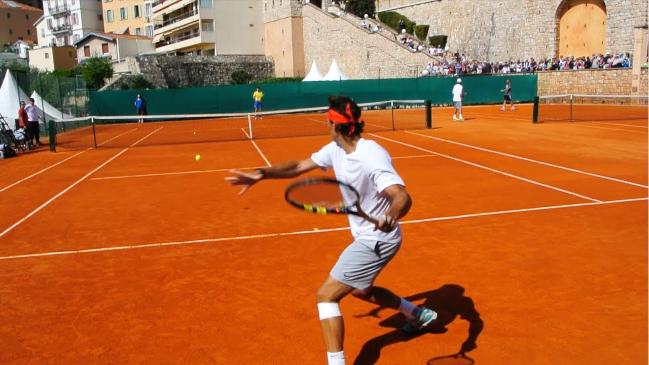 Rafael Nadal Training on Clay Court Level View - ATP Tennis Practice