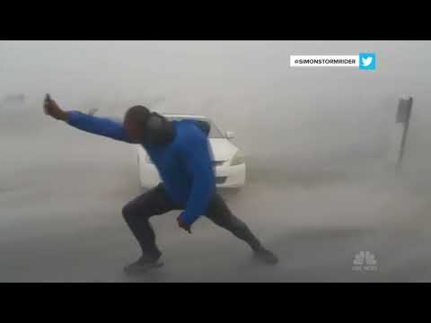 Storm Chaser Battles Hurricane Irma's Powerful Winds | NBC News