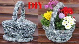 DIY Aus einem alten Geschenkkorb wird ein wunderschöner Steinblumentopf/ Beautiful Stone Flower pot