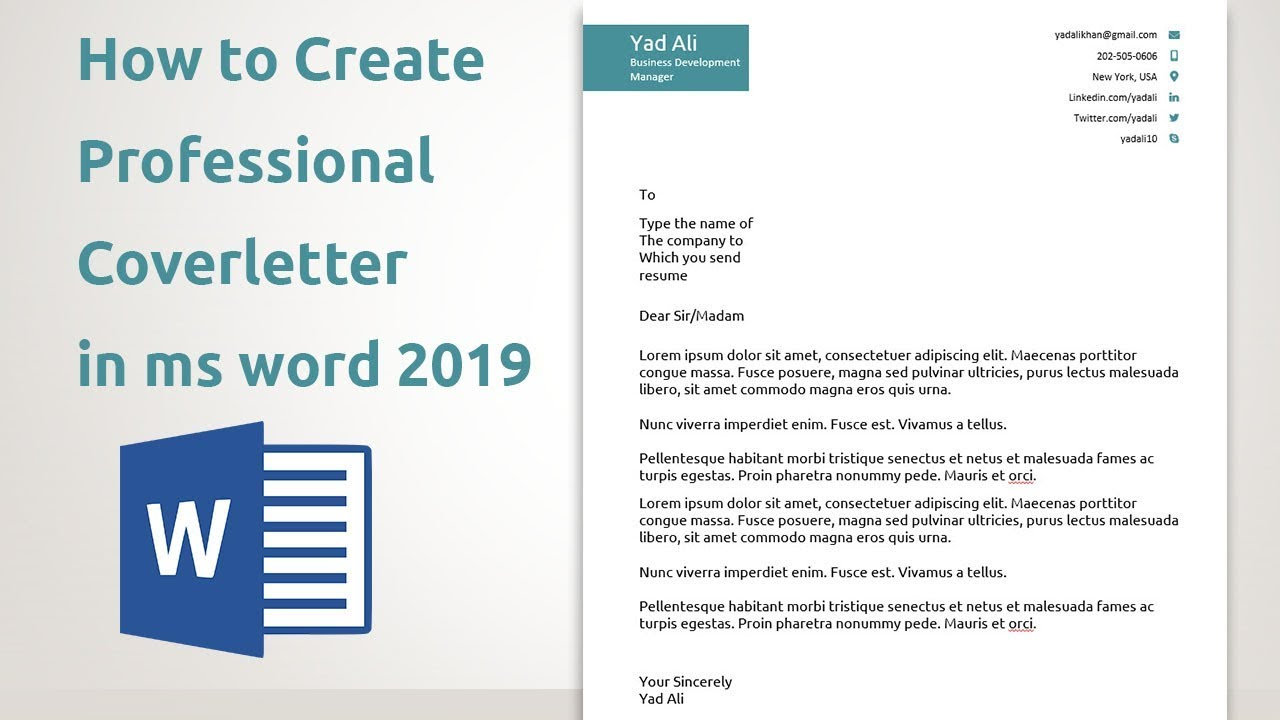 How To Create Professional Cover Letter Templates In Ms Word 2019 Youtube