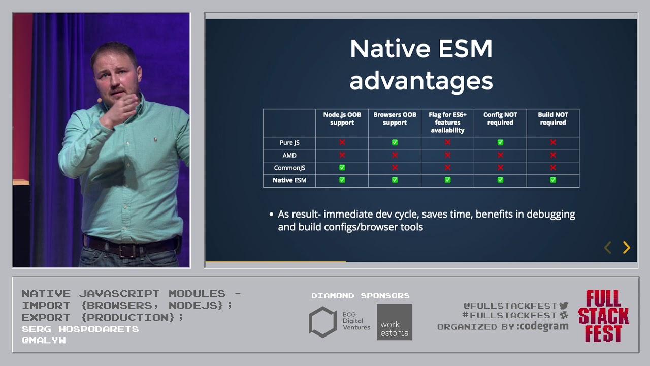Native JavaScript modules- import {Browsers, NodeJs}