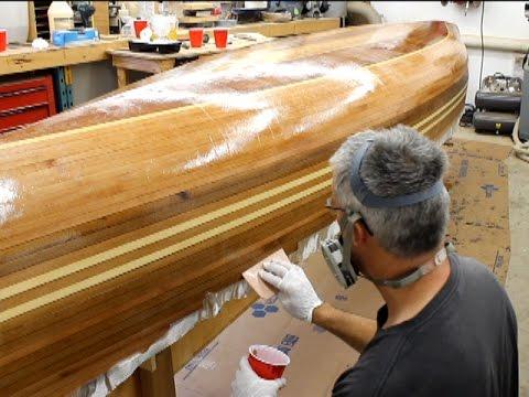 Fiberglassing a wooden canoe