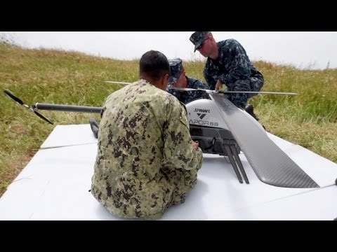 Vapor 55 Helicopter UAV Drone Test Flight At Navy Research Facility