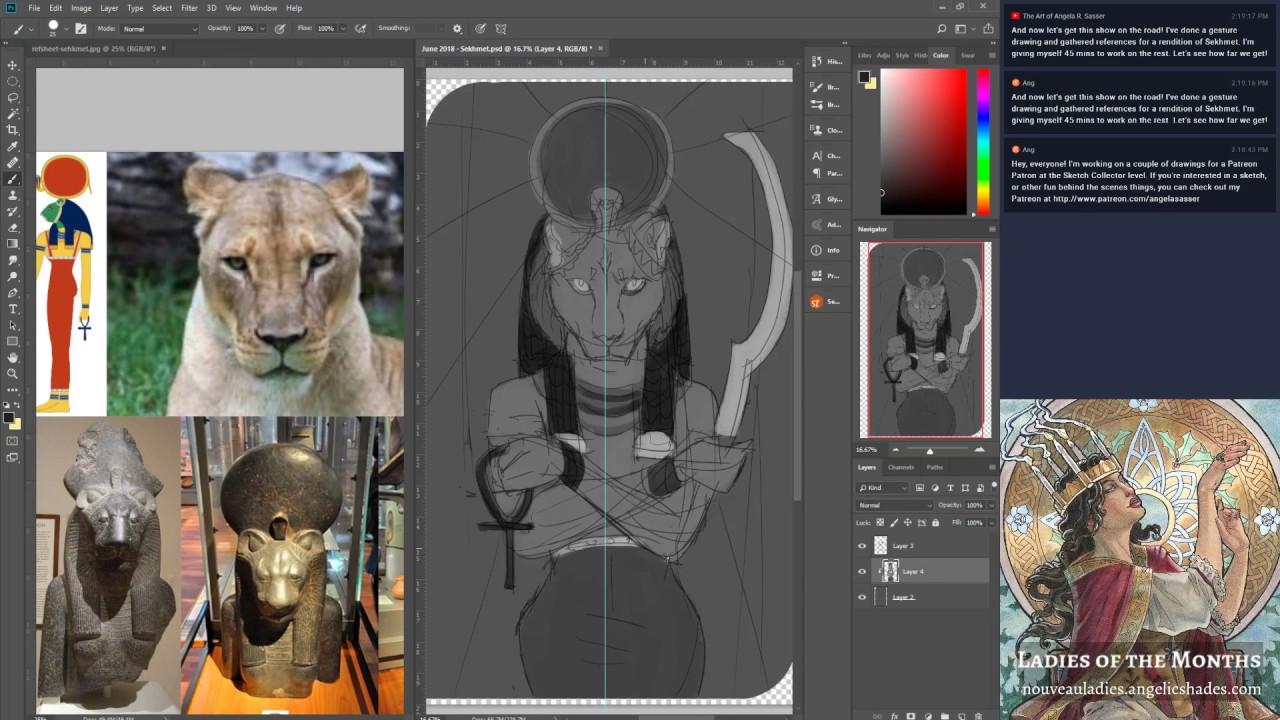 Patreon Sketch Jam: Anubis and Sekhmet in Photoshop