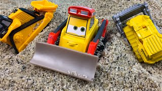 Hide and Seek Surprises in the Sand with mini Mighty Machines Construction Toys Bulldozer Loaders
