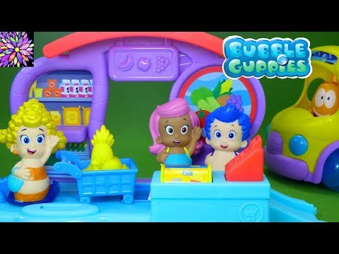 Bubble Guppies Toys Shopping at Bubbletucky Market with Deema Gil Molly Clambulance School Bus Toys!