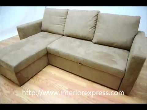 Lovely InteriorExpress Linden Tan Microfiber Convertible Sectional / Sofa Bed   LFC