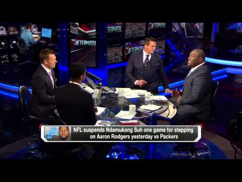 TJ Lang pushes Ndamukong Suh on to Aaron Rodgers - Warren Sapp call Suh Disgusting