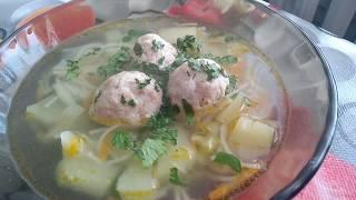 Суп с фрикадельками и вермишелью,быстро,вкусно и легко