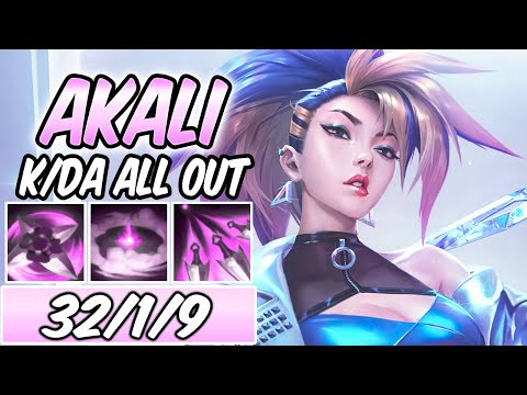 S+ CLEAN AKALI K/DA ALL OUT FULL AP NEW ITEMS & SKIN MID GAMEPLAY | Build & Runes -League of Legends