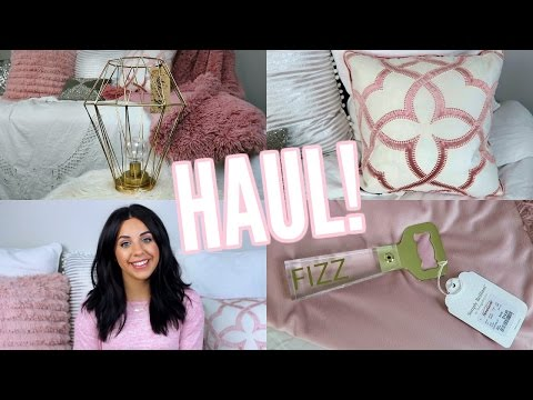 HOME DECOR HAUL! T.J, MARSHALLS, HOMEGOODS! LIGHT PINK AND GOLD DECOR!
