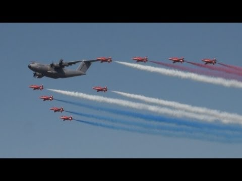 A400M and Red Arrows Formation Royal International Air Tattoo 2013