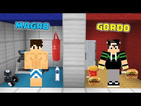 QUARTO DE MAGRO VS QUARTO DE GORDO NO MINECRAFT!!