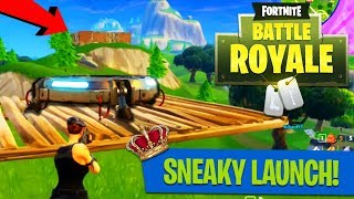 SNEAKY LAUNCH PAD VICTORY! (i landed right in their base) // Fortnite: Battle Royale Squad Victory