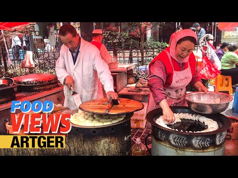 Street Food In China: Amazing Muslim Food Market In Shanghai (Part 2) Best Tandoori Meat Buns