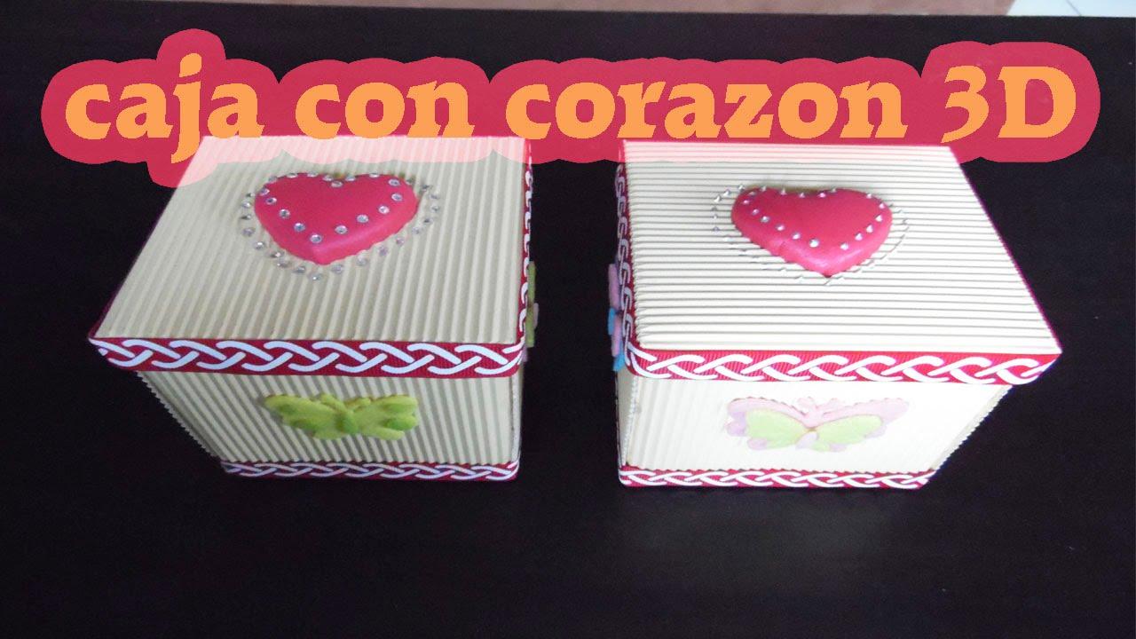 Diy caja de papel corrugado con corazon 3d - Cajas forradas de papel ...