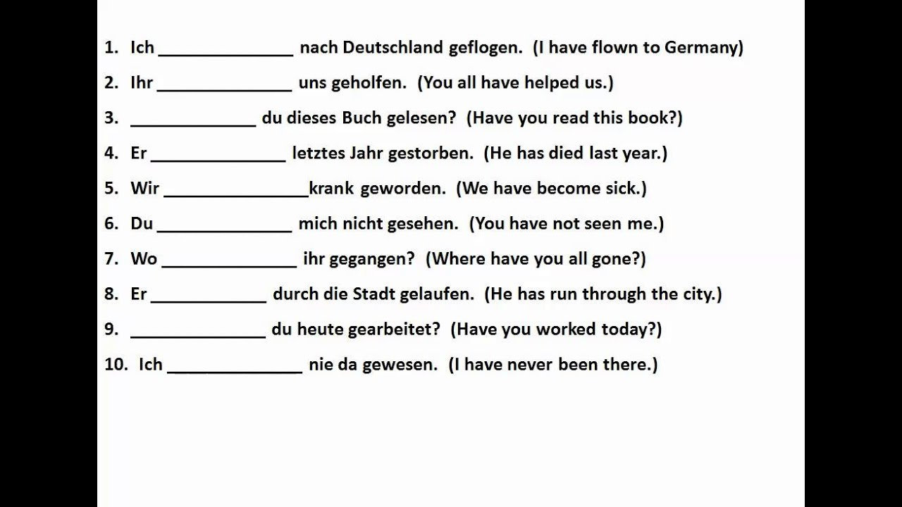 The Perfect Tense In German With Helping Verbs Www