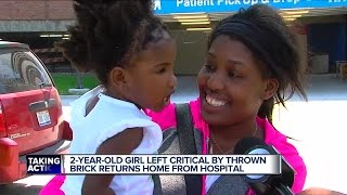 2-year-old Detroit girl hit by brick released from hospital