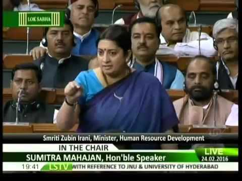How congress had ruined our education system    Smriti Irani Answering of questions    Lok Sabha `16
