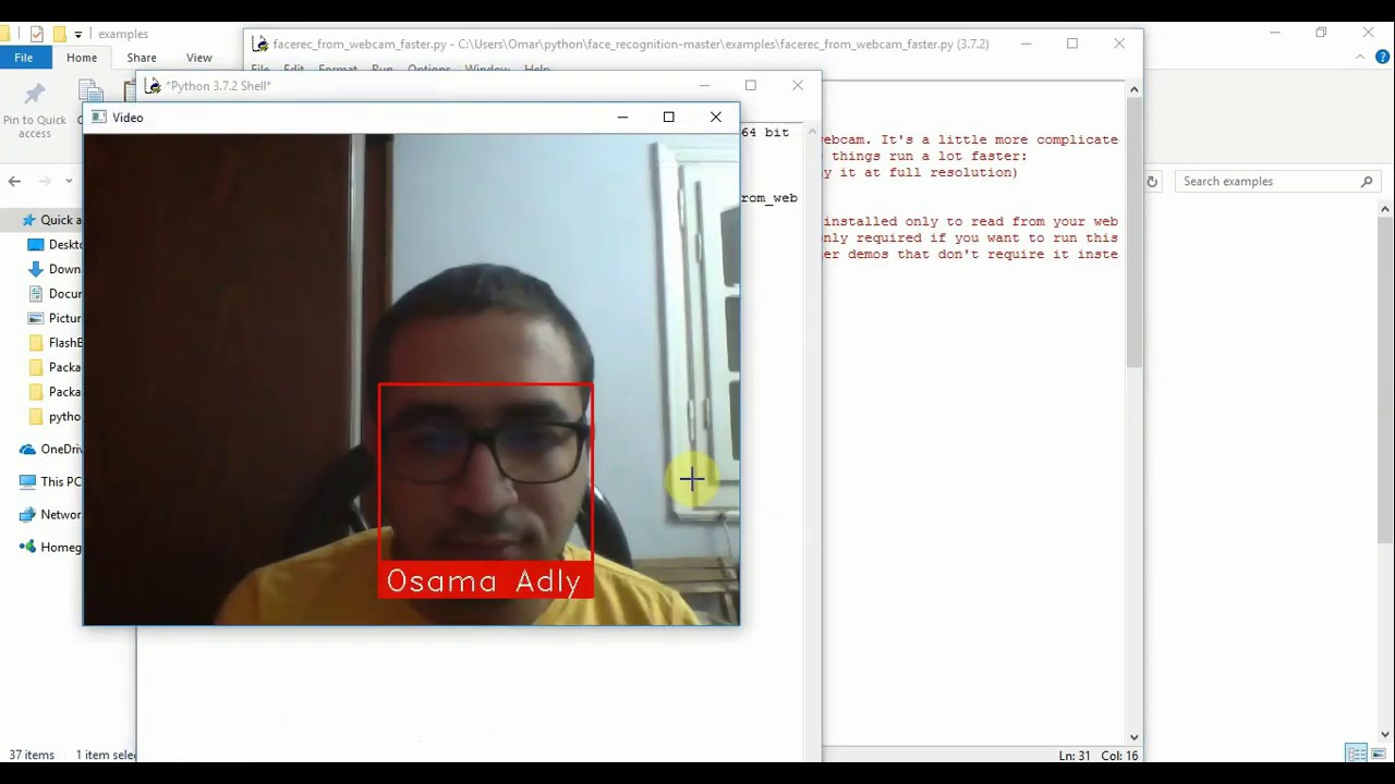 How install face recognition on python and windows 10 by Osama Adly