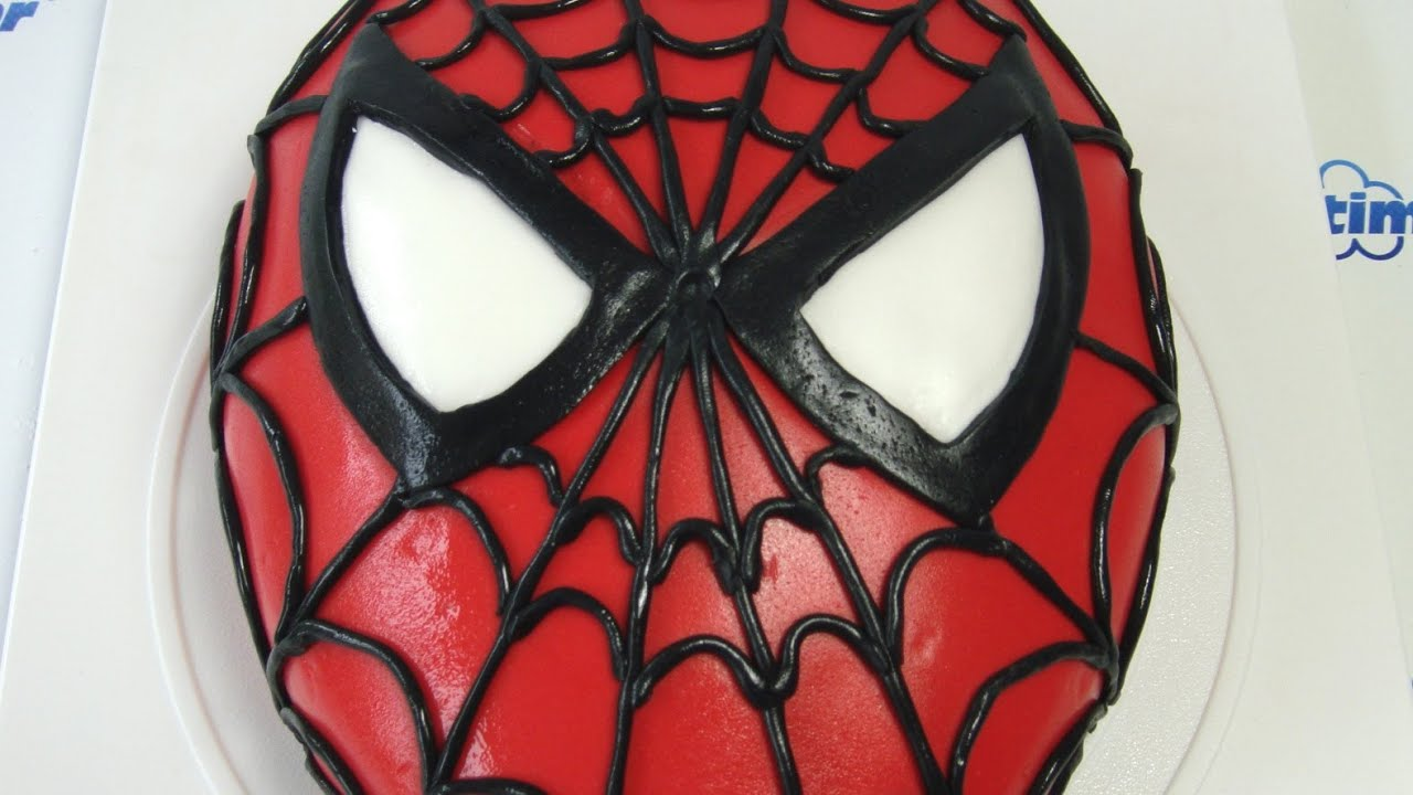 Spider man cake how to tutorial dort spiderman n vod for Spiderman template for cake