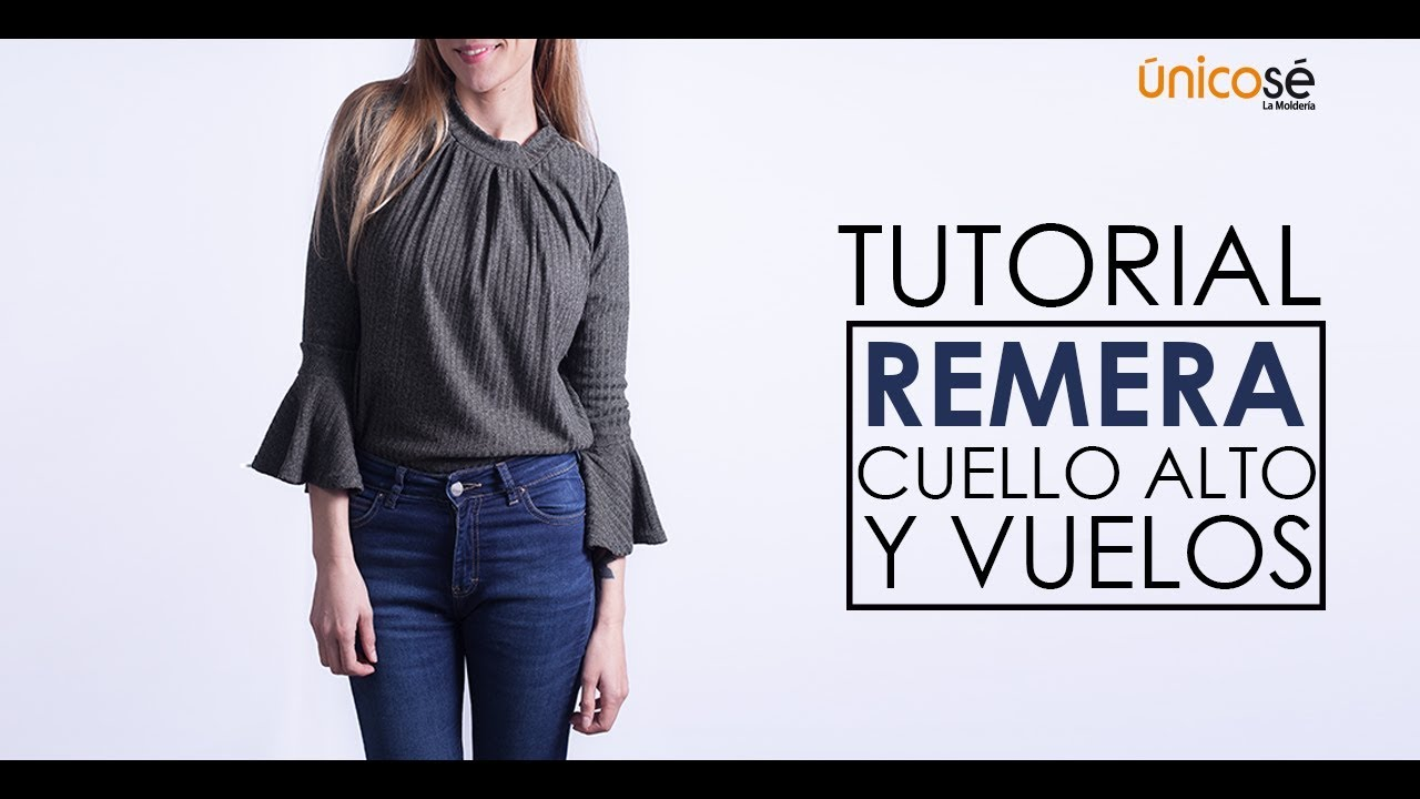 DIY tutorial costura: Remera o Polera cuello alto y vuelos - YouTube