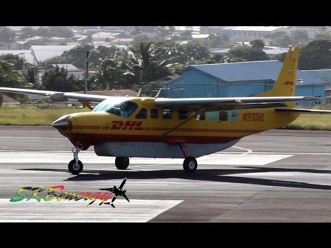 DHL Cessna 208B Grand Caravan, BN-2 Islander action @ St Kitts (HD 1080p)