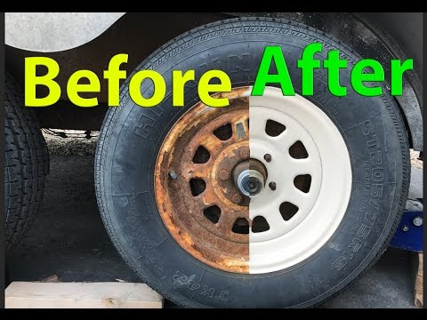 How to: RESTORE RUSTY white Trailer Wheels / rims