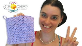 Crochet V-Stitch HDC Pattern - Easy Dishcloth DIY Tutorial