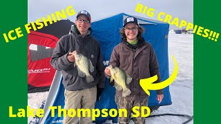 Lake Thompson SD Ice Fishing Big Crappies and Walleye