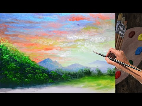 Basic LANDSCAPE PAINTING TUTORIAL during sunset with near and far mountains | ACRYLIC ART LESSON