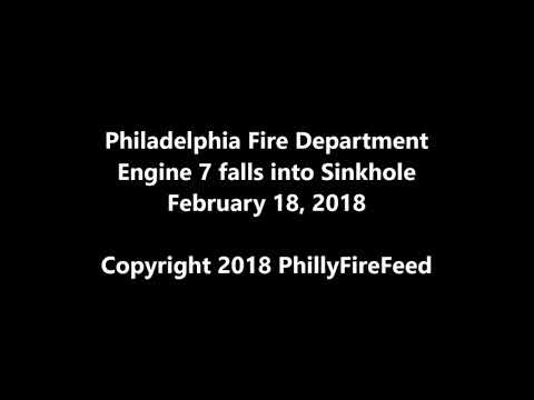 2-18-18, Philadelphia Fire Department Engine 7 falls into Sinkhole