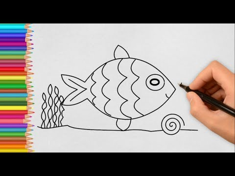 How To Drawing A Fish Drawing Fish In The Water Color Kids Youtube