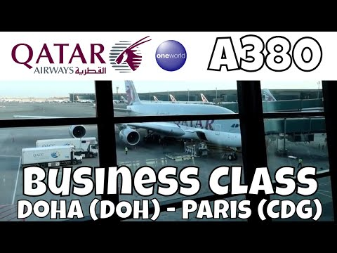 Qatar Airways Business Class Airbus A380 Doha Paris QR839 Flight Report