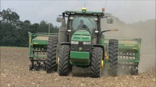 JOHN DEERE 8245R WITH 1590 DRILL PLANTING SOYBEANS. SCOTT FARMS 2017 SOYBEAN PLANTING
