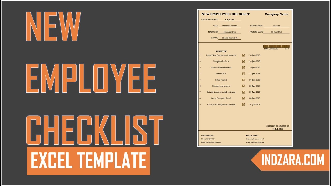 New Employee Checklist - Free Excel Template - Tour - YouTube