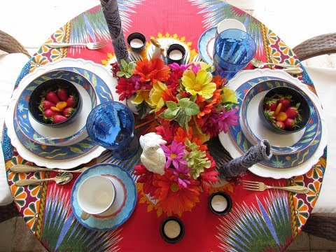 Afrocentric Tropical Summer Table For Two /Lunch On The Patio