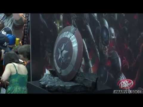Captain America's shattered shield, Hulkbuster gauntlet and Ultron Mark 1 from Avengers: Age of Ultron