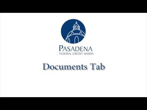 Pasadena FCU Online Banking Overview: Documents Tab