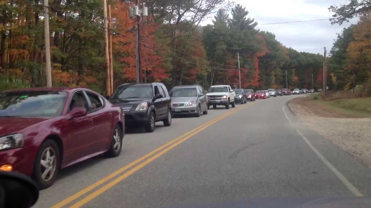 LONG line of cars waiting on rt302 to get to Fryeburg Fair - YouTube