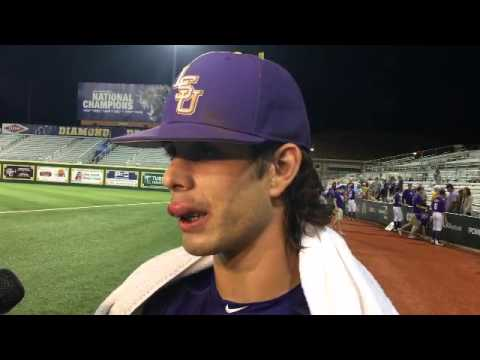 LSU\'s Kramer Robertson talks Rally Possum, bloody lip