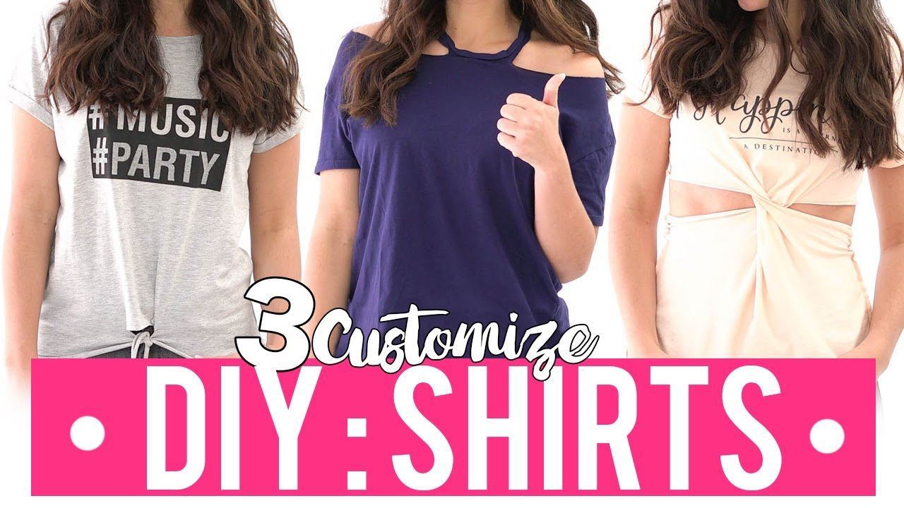 b66095df2 3 DIY IDEAS TO CUSTOMIZE YOUR T-SHIRTS - YouTube