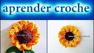 FLORES EM CROCHE FLOR GIRASSOL PRINCE - 086(Edinir-Croche ensina flores em croche 086 - flor girassol prince. *NOVOS VIDEO-AULAS TODA SEMANA