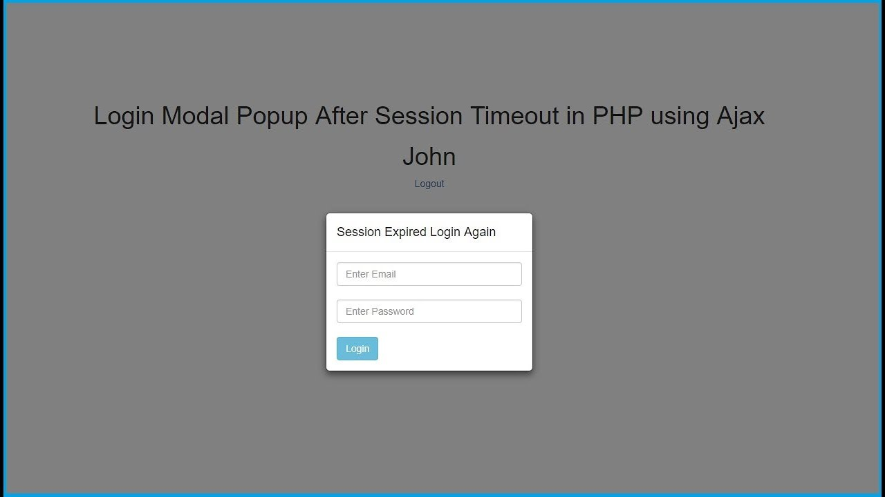 Login Modal Popup After Session Timeout in PHP using Ajax