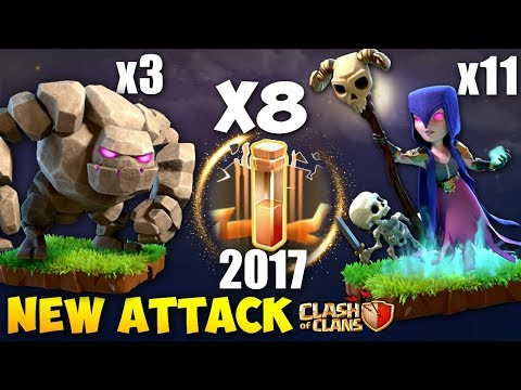 8 EARTHQUAKE + 11 WITCH: WITCH BOOM NEW TH9 STRONG WAR ATTACK STRATEGY 2017 | Clash of Clans